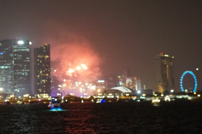 New Year in Singapore harbour