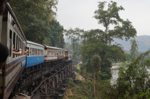 On the train on site of old Thailand to Burma line
